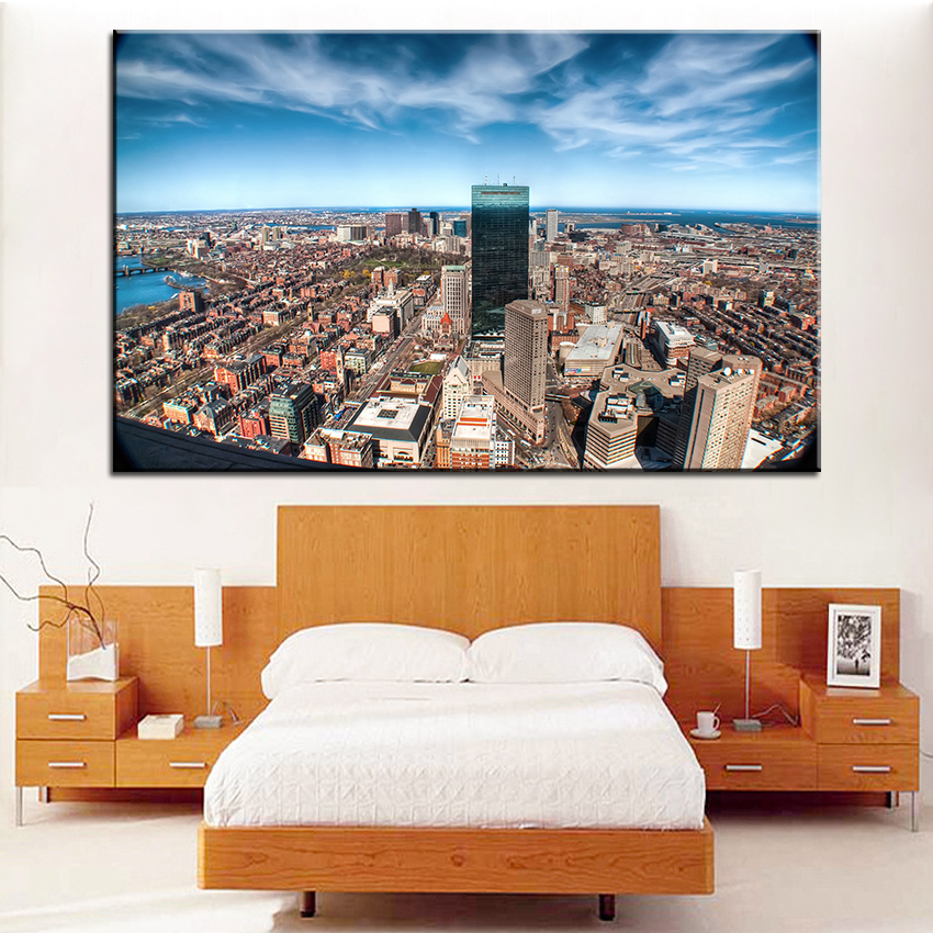large size printing oil painting city panorama wall painting decor wall art picture for living room