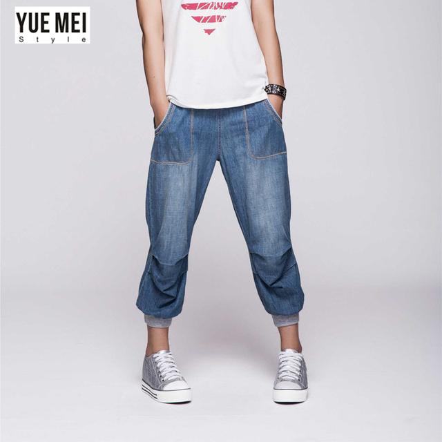2016 verão calças de brim Harém para a mulher plus size Capris jeans