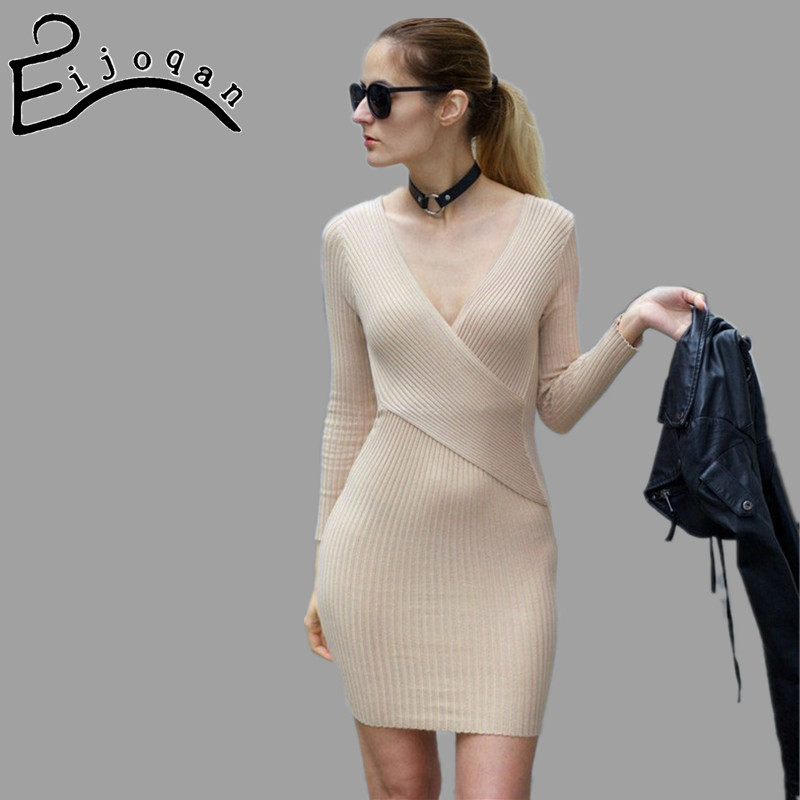 10Colors sexy v neck package hip women long sweater long sleeve women dress 2017 winter knitted