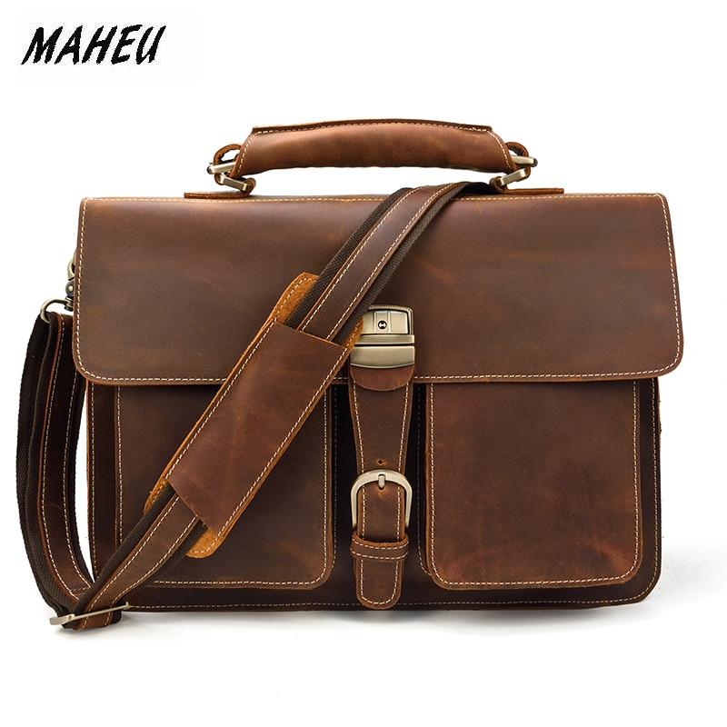 MAHEU Super Quality Briefcase Leather Men Fashion Crazy Horse Brand Luxury Famous Designer Business Handbag Notebook Laptop Bag
