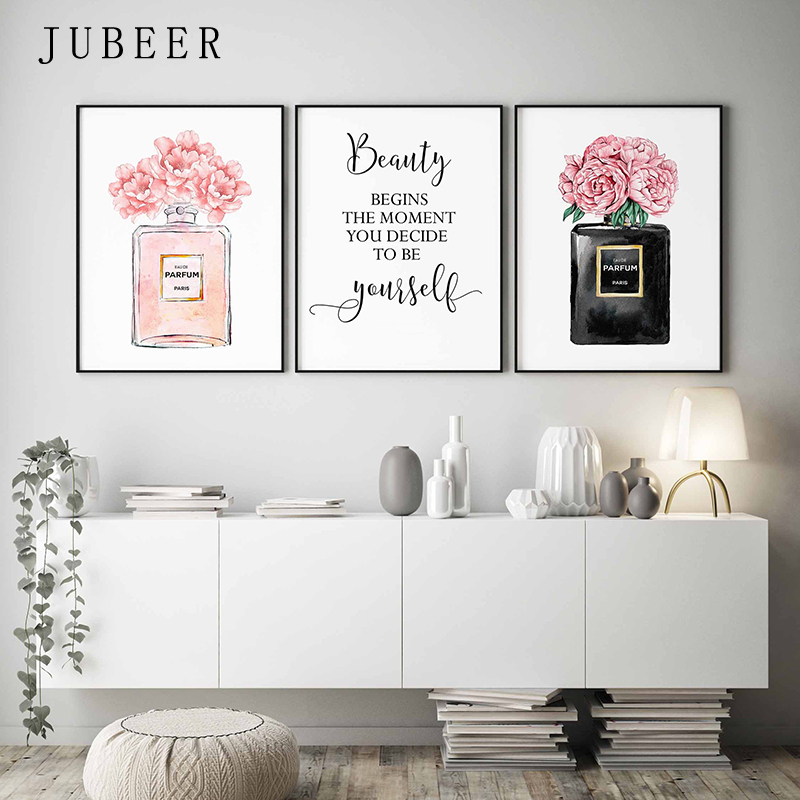 HTB1MtsMXubviK0jSZFNq6yApXXaW Perfume Bottle Wall Art Perfume Posters and Prints Beauty Begins Quote Print Watercolor Flower Pictures Bedroom Decoration