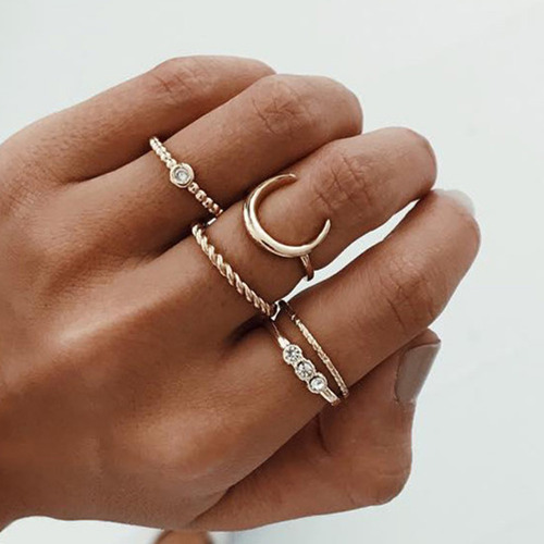 Brief 5pcs/set CZ Crystal Midi Rings for Women Bohemian Moon Charms Rings Weddin