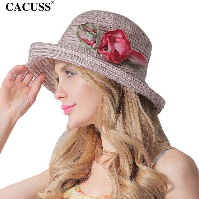 CACUSS Women Summer Sun Hats Flower Caps Wide Brim Ladies Elegant Bucket Hat  For Party Luxury Brand Wholesale 32bb2f644de