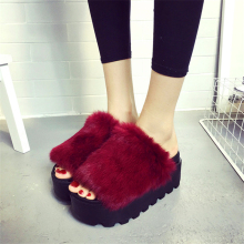 Women's casual slipper new arrival high quality rabbit fur slippers platform female slip-resistant thermal female slippers shoes