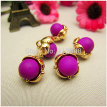 RS53038 10pcs,12mm gold metal button in Purple color,Imitation pearls Classic fashion buttons,garment accessories DIYmaterials