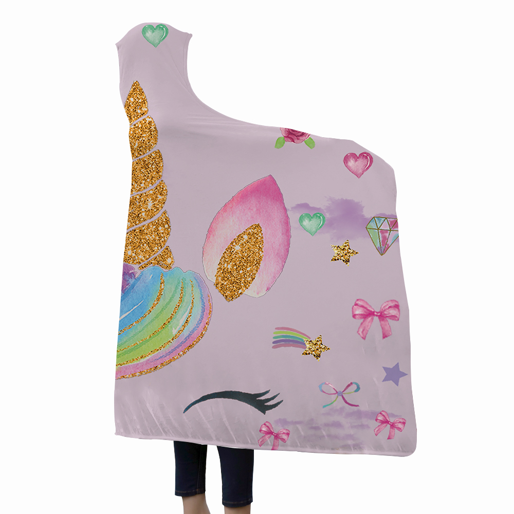 Miracille Unicorn Hooded Blanket For Women Cartoon Emoji For Kids Floral Sherpa Fleece Wearable Pink Microfiber Throw Blanket-in Blankets from Home & Garden    2