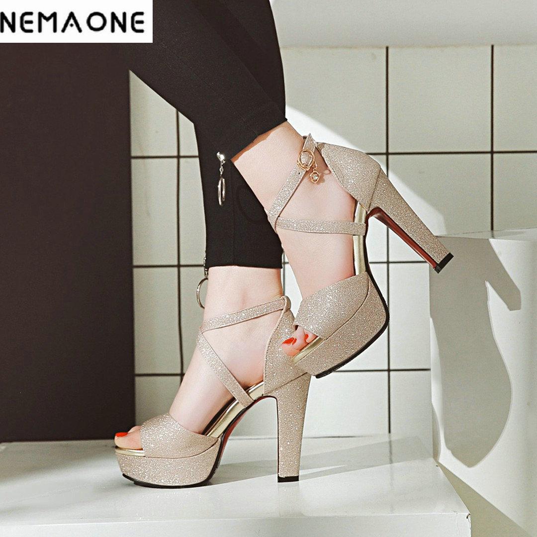 NEMAONE Plus Size 33-43 high Heel Women cross Strap Gladiator Sandals Women's Summer Shoes Fashion Female Sandals Party Shoes