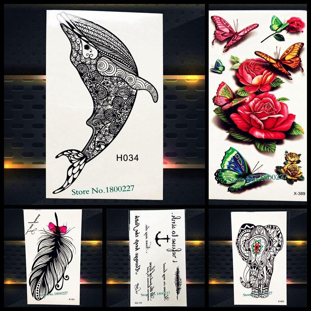 Dolphin Henna Tattoo: Disposable Temporary Tattoo Sticker Black Mehndi Henna
