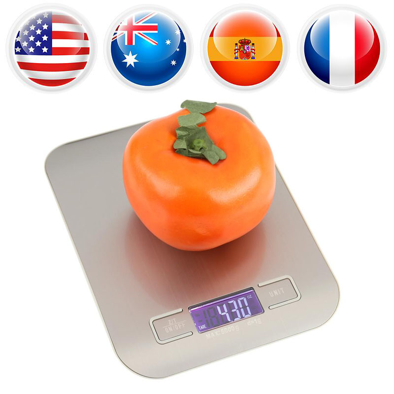 5000g/1g Digital Electronic Scale Kitchen Food Weight Scale LCD Display Backlight Stainless Steel Weighing Measuring Tools
