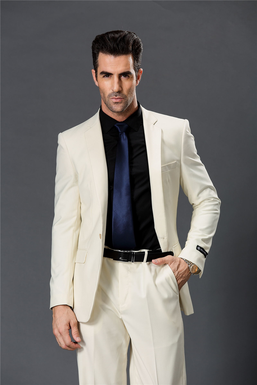 Latest Coat Pant Designs Ivory White Formal Bridegroom Custom Slim Fit Beach Wedding Suits For ...