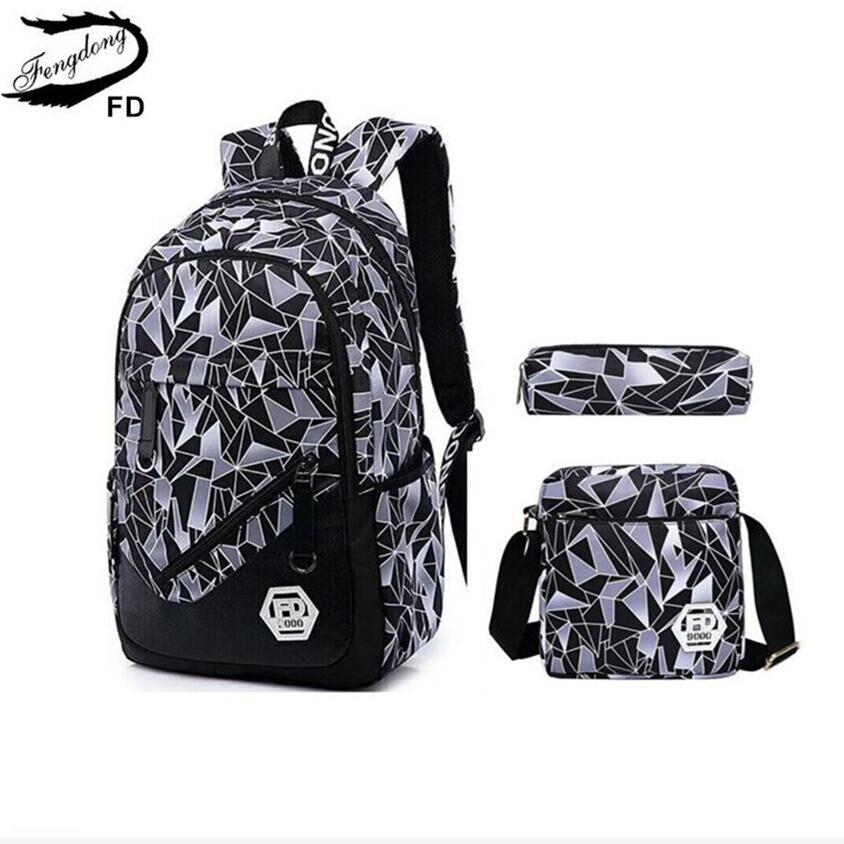 59116786e6 Dropwow FengDong 3 pcs women bag set boys backpack for school pencil ...