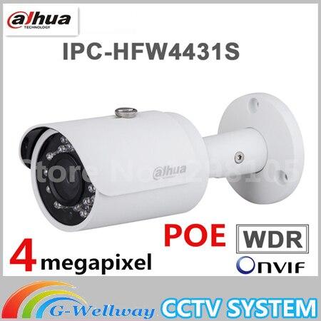 Dahua Inglese IPC-HFW4431S 4MP H.265 POE 30 M IR IP67 Impermeabile HFW4431S WDR Outdoor Network Mini Telecamera Bullet