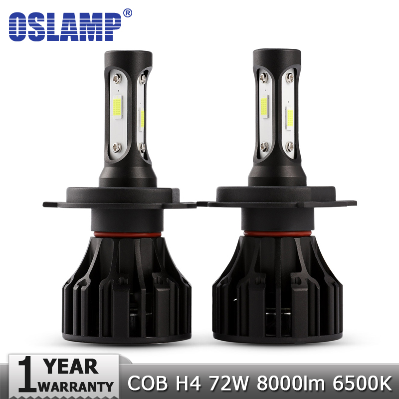 Oslamp H4 LED Headlight Bulbs COB Car Led Bulb Hi Lo 72W 8000lm Auto Headlamp Led Light 12v 24v for Nissan Renault Golf Chery oslamp cob h7 led headlight bulbs 72w 8000lm 6500k car auto headlamp fog light bulb 12v 24v h7 for hyundai bmw volvo golf skoda page 4