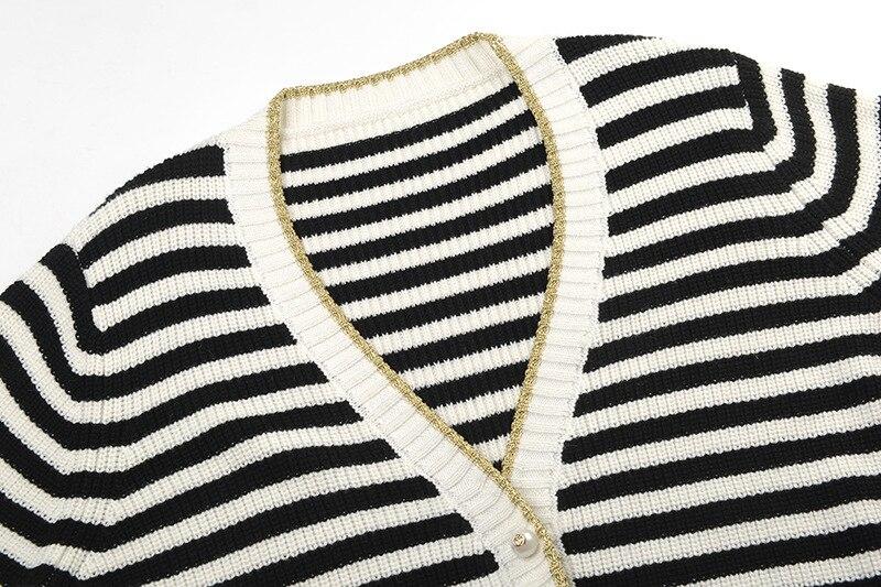 Femmes Automne Poitrine Cardigan D'hiver Mode Unique À Rayé 2018 Manches Boutons Longues De Chandails Tricoté yvmNn0wO8