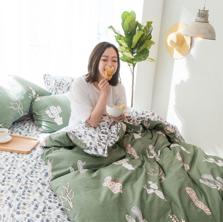 Милый кактус один двойной спальный набор для взрослых для подростков, детей, хлопок Твин Полный Королева Король домашний текстиль простыня ...