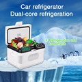 12L Mini Portable Car Refrigerator 12V/ 24V Dual-core Refrigeration Mute Design Cooler Box Heater Fridge for Home Car Truck