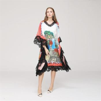 Women Dress 2018 High Quality  Designer Runway V-neck Batwing Sleeve Printed Lace Patchwork Casual Dresses NP0024