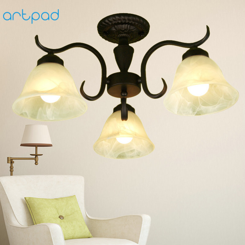 Artpad Modern European 3heads Ceiling Lamp Glass Lampshade AC90-260V E27 LED Living Room Dining Study Bedroom Ceiling Light stylish straight short synthetic blonde mixed side bang capless wig for women