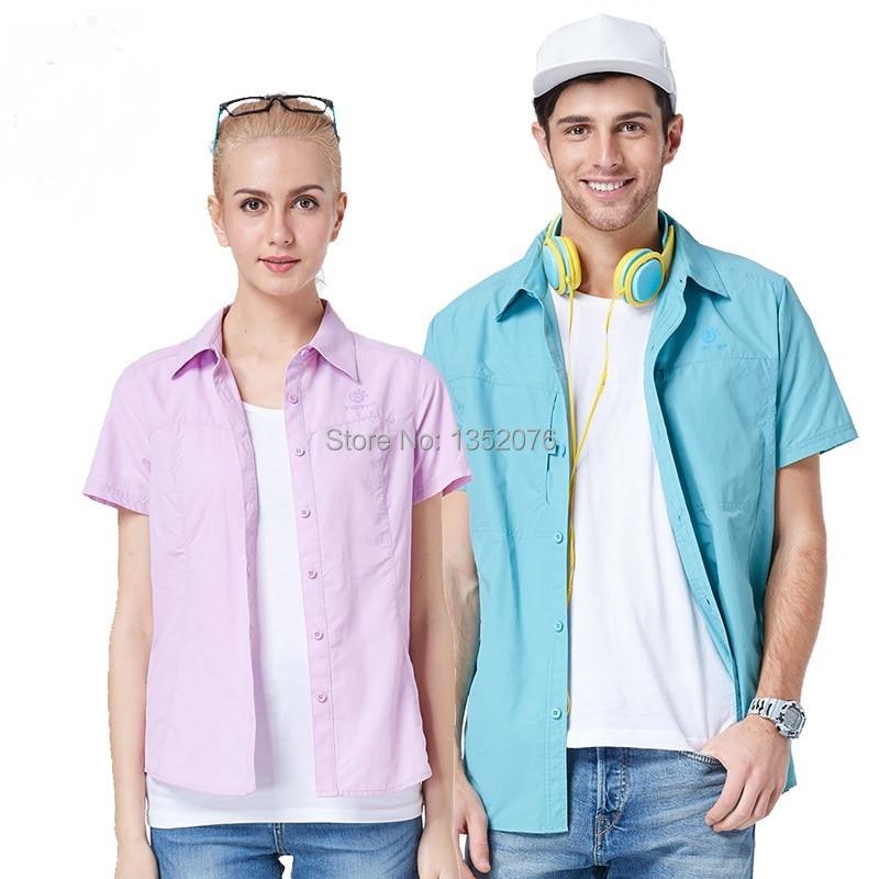 Marka Erkek Kadın Hızlı Kuru Kısa kollu Gömlek Severler Hızlı Kuru Nefes Açık Spor Anti-Uv Gömlek S-XXL Ücretsiz & drop Shipping