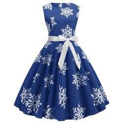 Enyuever w stylu Vintage Sukienka boże narodzenie Sukienka zielony Jurk Kerst Snowflake Print Vestidos Navidad Mujer Pin Up, na co dzień, na co dzień, boże narodzenie Sukienka 3