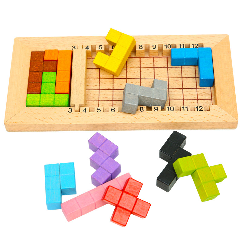 Wooden Tetris Game Educational Jigsaw Puzzle Toys Wood Tangram Brain-Teaser Puzzle Preschool Children Kids Toy цена