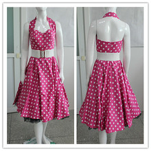 064d66be65 H R LONDON BLACK POLKA DOT PINUP SWING 1950's HOUSEWIFE DRESS VINTAGE  ROCKABILLY