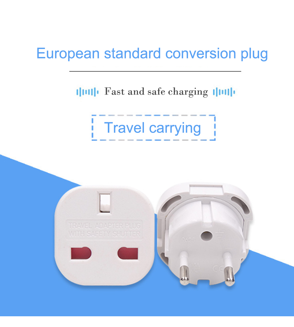 UK to European Euro EU AC Travel Charger Adapter Plug Outlet Converter Adapter power conversion plug Universal mobile phone (1)