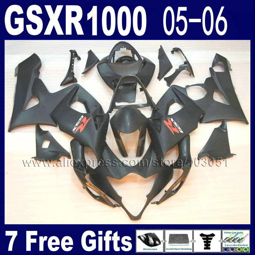Injection moulding OEM custom fairings for 2005 suzuki  gsxr 1000 K5 2006 kits 05 06 all matte black motorcycle fairing kits custom injection molded motorcycle fairings kits for suzuki 2005 k5 black silver 2006 gsxr1000 05 gsxr 1000 06 fairing kit