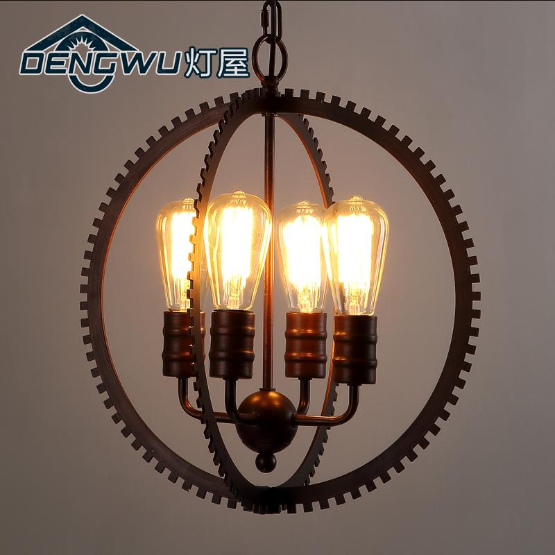 Loft Style American Country Personality Iron Living Room The Ring Pendant Light  Coffee Shop Decoration Light Free Shipping