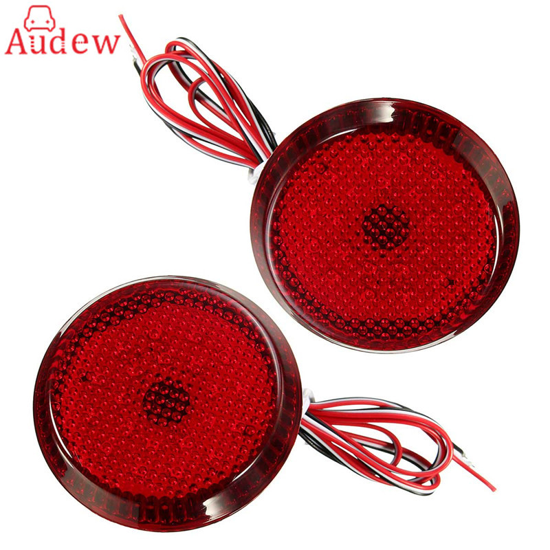 2Pcs  LED Parking Warning Bumper Lamp DC12V Rear Bumper Reflector Tail Brake Light  For Nissan/Qashqai/Trail/Toyota/Corolla dongzhen fit for nissan bluebird sylphy almera led red rear bumper reflectors light night running brake warning lights lamp