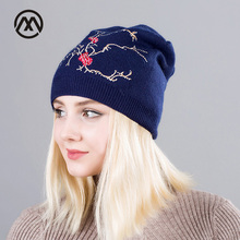 Womens embroidery Beanie Autumn Winter warm Knitted Hat Turban Flowers Diamond Skullies double-deck cotton cap For Women Beanies