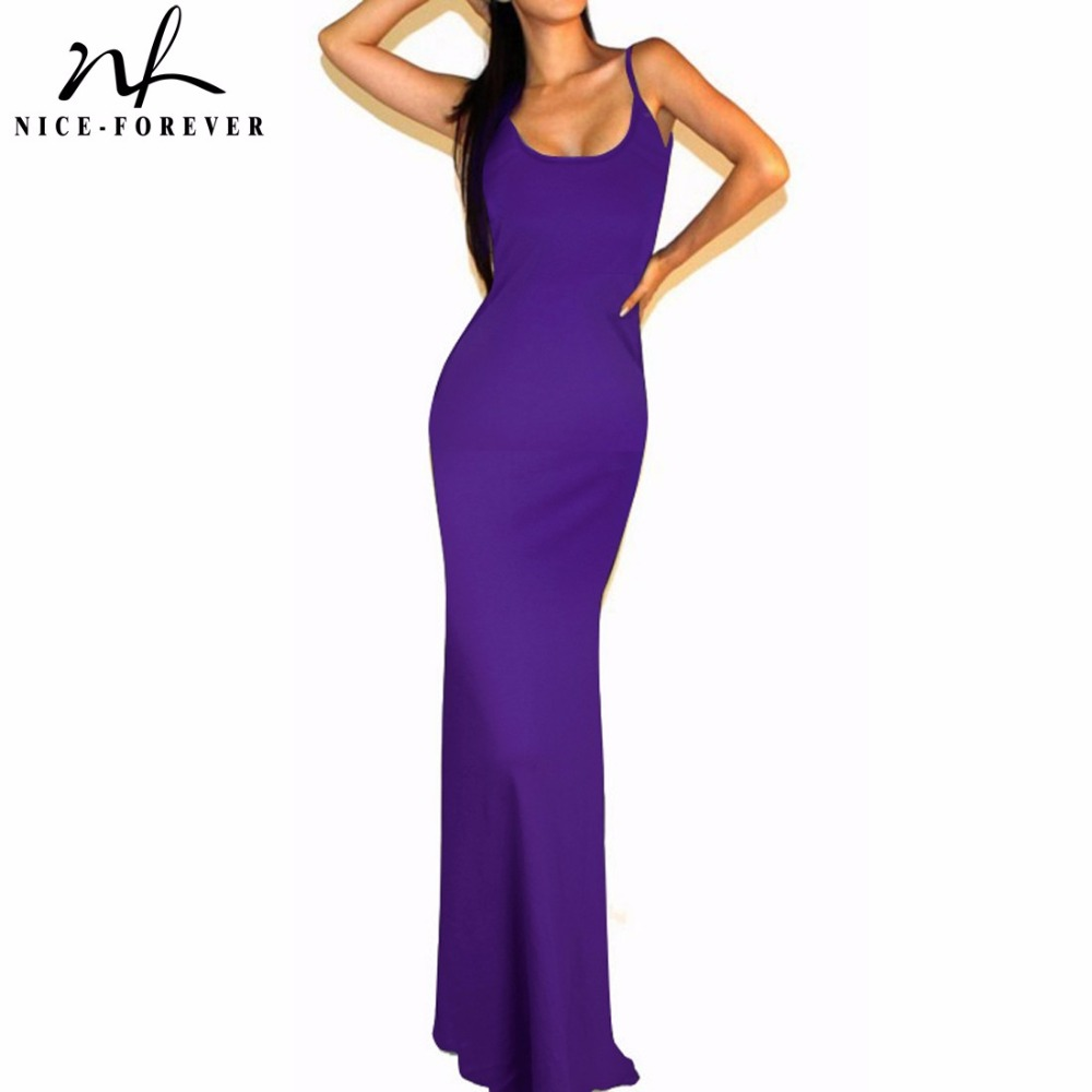 Nice forever Solid Fit and Flare Sexy women summer font b Dress b font Spaghetti Strap