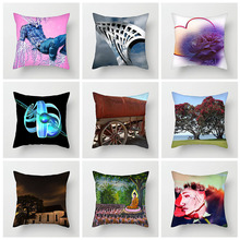 Fuwatacchi Scenic Cushion Cover Abstract Character Illustration Pillow For Home Sofa Car Decorative Pillowcases 45cm*45cm