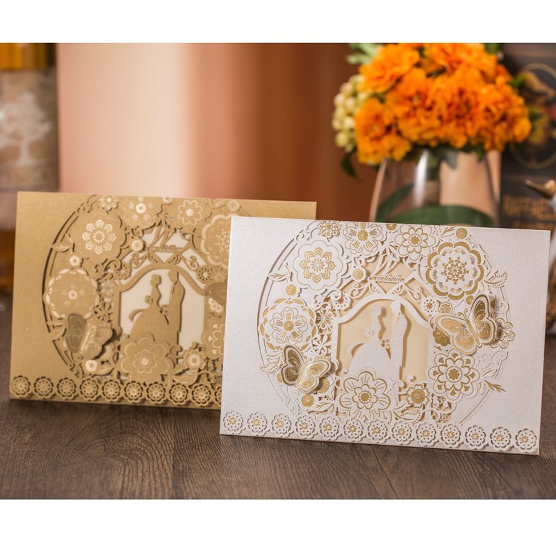 50pcs White/Gold Bride and Groom Laser Cut Wedding Invitations Card Butterfly Elegant  Wedding Engagement Event & Party Supplies folding type laser cut design bride groom wedding invitations kit blank insert paper invitation card convite casamento