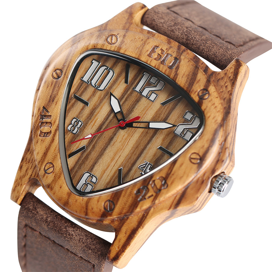 genuine leather band pink buckle quartz zebra wood watches03