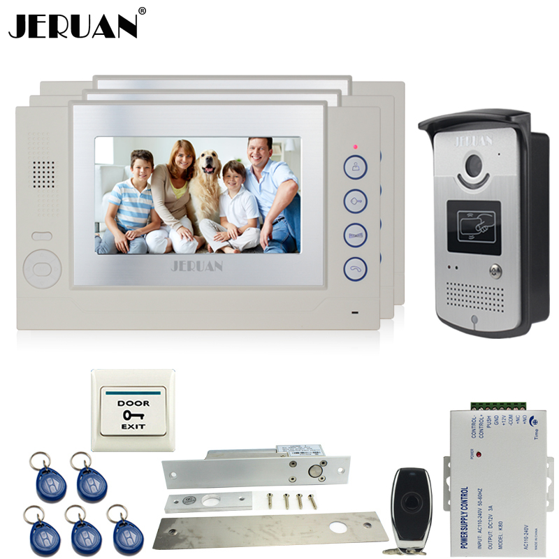JERUAN 7`` video door phone Record intercom system 3 monitors 700TVL RFID Access IR Night Vision Camera ELectric Drop Bolt lock jeruan three 7 monitor color video door phone intercom 700tvl rfid access ir night vision camera electric mortise lock 8gb card