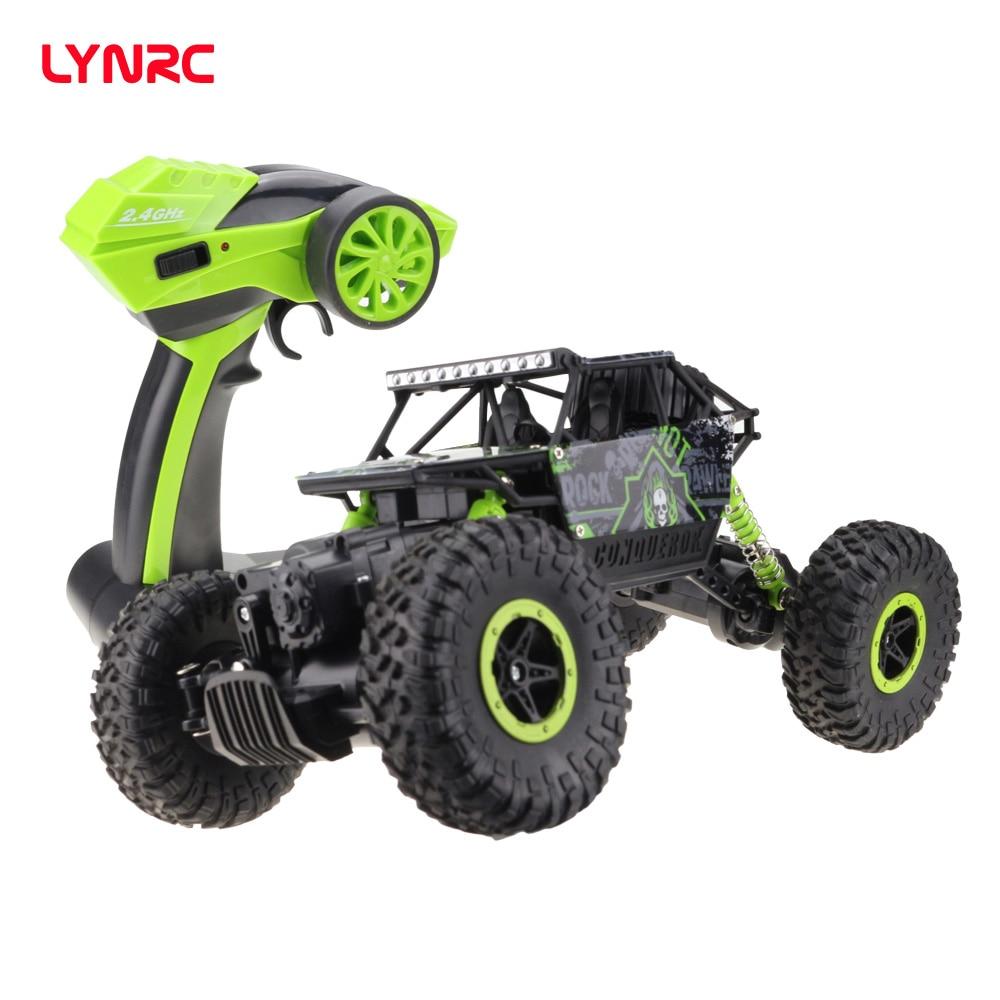 Lynrc 4WD 2.4 GHz Carro escalada Carro RC 4x4 Motores Dobro Bigfoot Carro de Controle Remoto Modelo Off- brinquedo Do Veículo de estrada