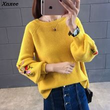 Xnxee 2018 sweater female students head loose jackets new winter flower embroidery Bubble Sleeve Sweater Dress