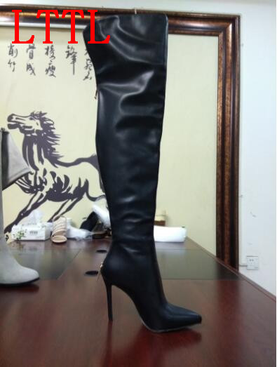 LTTL over the knee sexy high heel boots with pointed toe women leather thigh high boots Autumn and Winter boots for women black