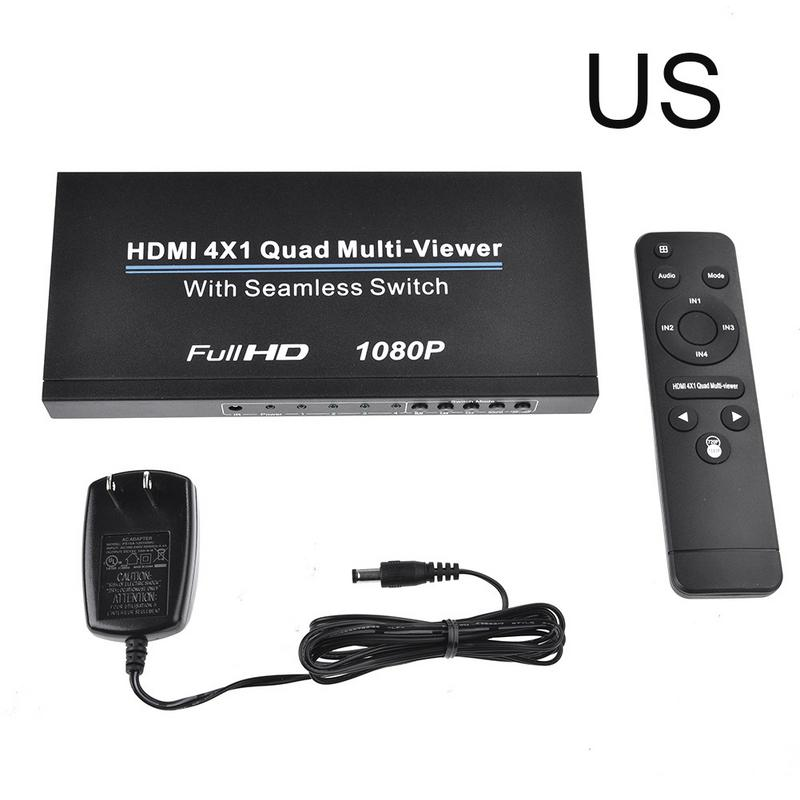 Ultra HD HDMI 4x1 Quad Multi Viewer Splitter With Seamless Switcher EU/US Full HD 1080P IR Control Splitter With Remote Control