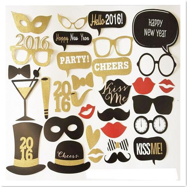 32pcs Colorful Fun Hats Mustache Creative Photo Booth Props Wedding Party Decoration Birthday Christmas New Year