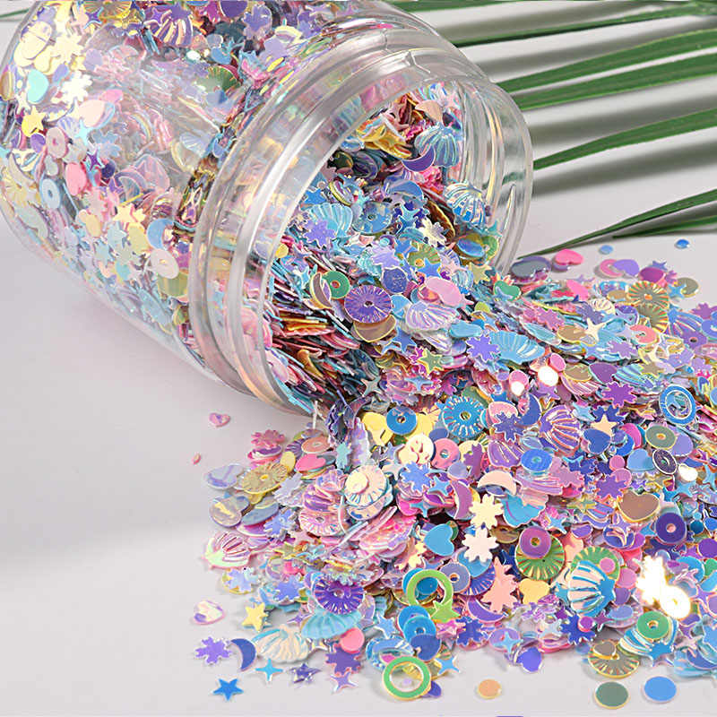 10g/Pack Mix Macaroon Colors Nail Sequins For Craft Glittering Star Heart Sakura Sequin Paillettes DIY Manicure Nail Art Decor