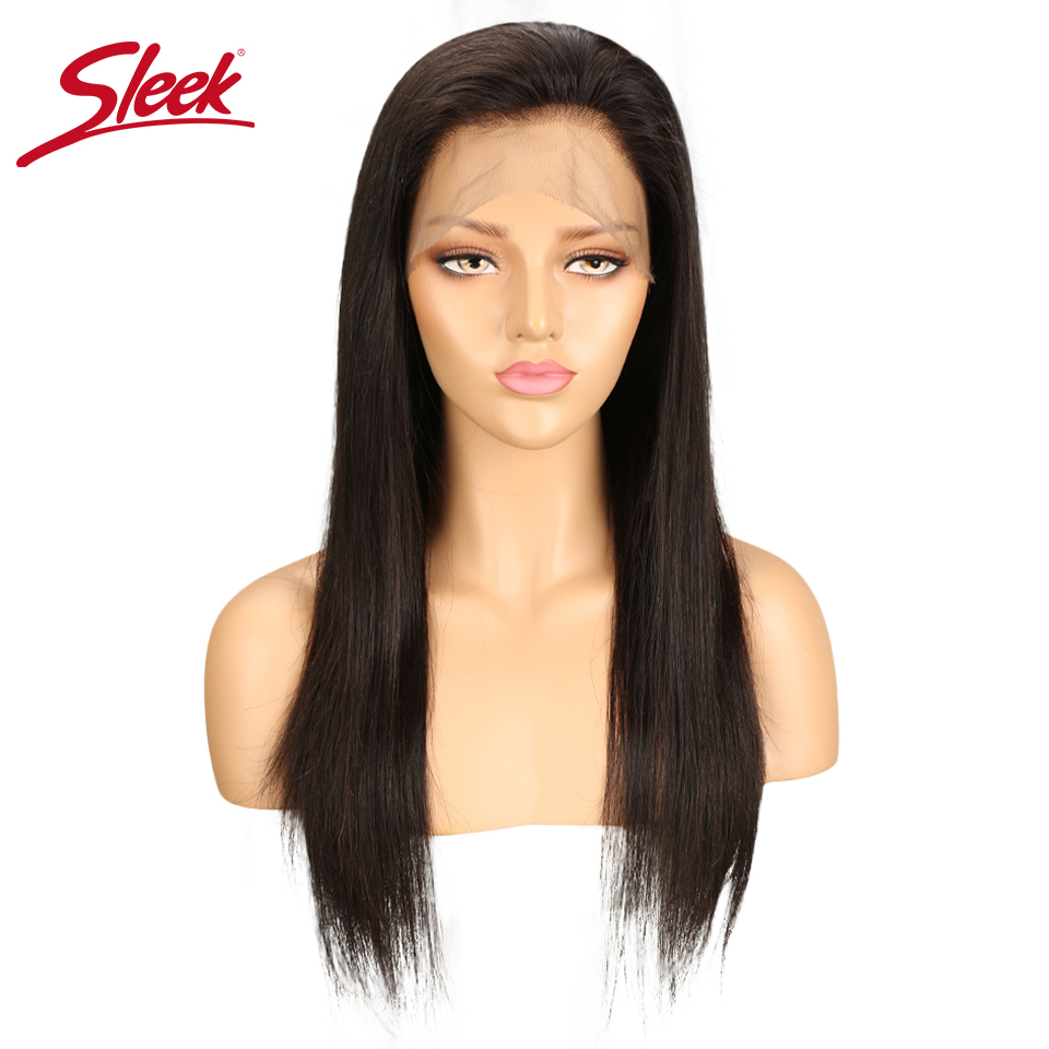 Sleek 360 Frontal Human Hair Wigs Brazilian Remy Straight Lace Front Human Hair Wigs For Black Women Natural Color 10 To 24 Inch