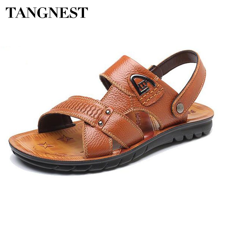 Tangnest Men PU Leather Beach Sandals Casual Open Toe Slip-on Gladiator Sandals For Men Summer Comfortable Slides Shoes