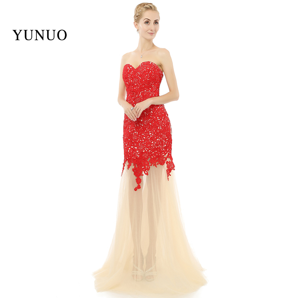 2018 evening gown Red Lace Appliques Vestidos Sweetheart Sleeveless ...