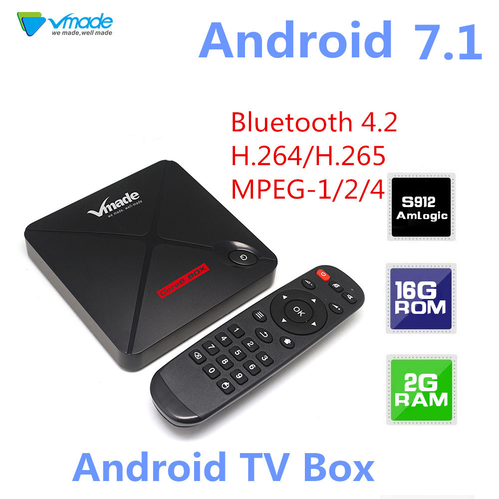 V9 PRO TV Box Android 7.1 Amlogic S912 2GB 16GB Bluetooth 4.2 H.264/H.265 MPEG-1/2/4 support 2.4G 5G Wireless WIFI Set Top Box