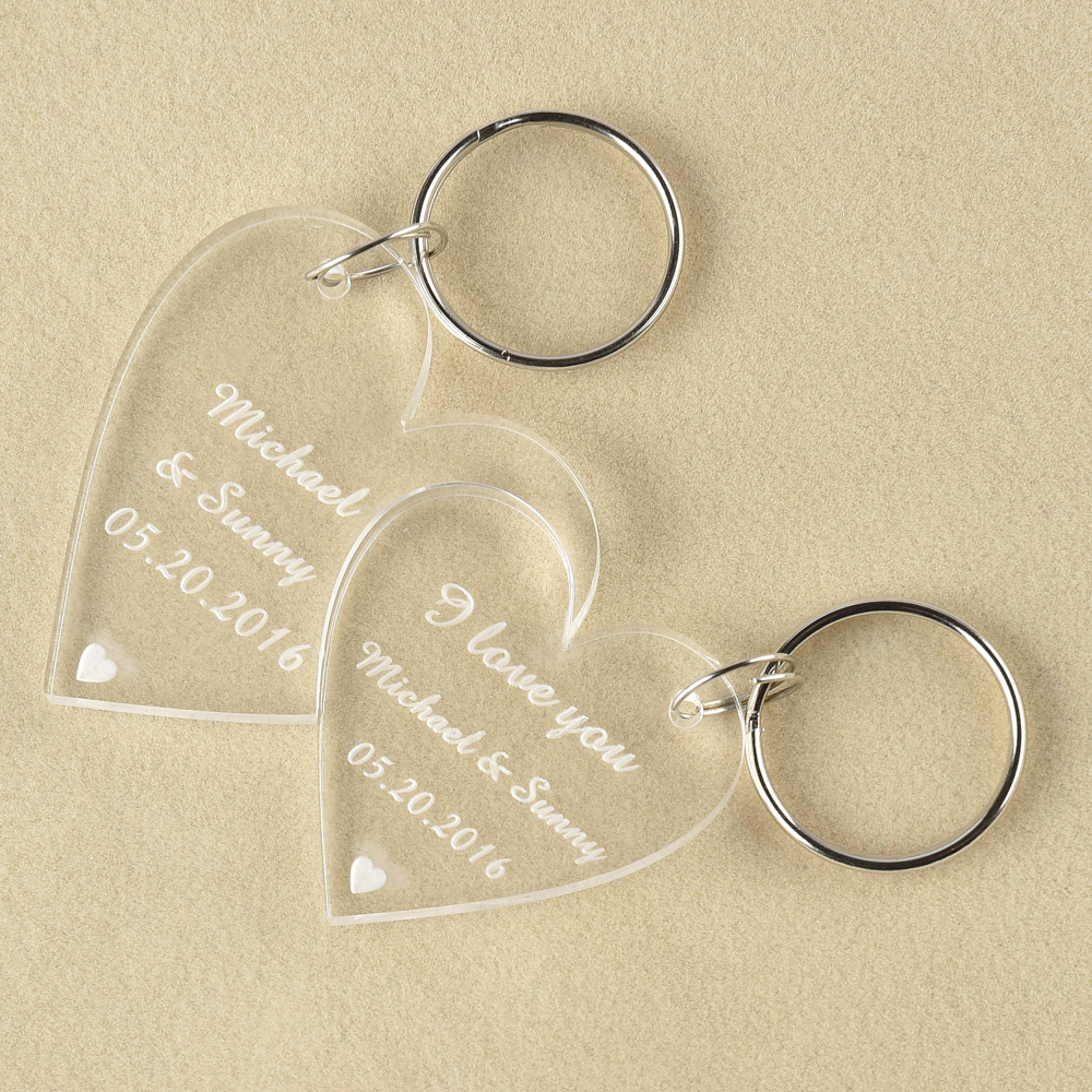 Personalised Heart Keyring Engraved Gift Present