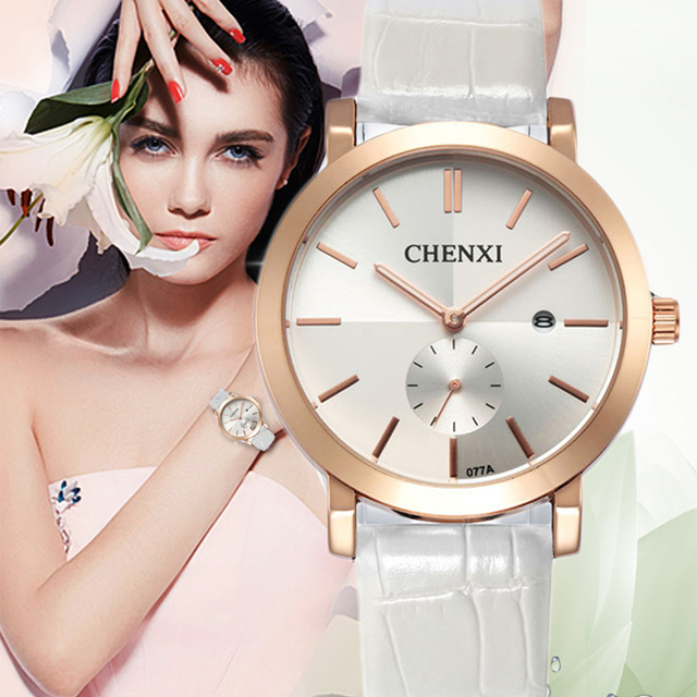 Aliexpress Com Buy Chenxi Brand Watch Women Discount Watches Women Hot Leather Quartz Watch Date Display Clock Gift Golden Silver Wristwatches From