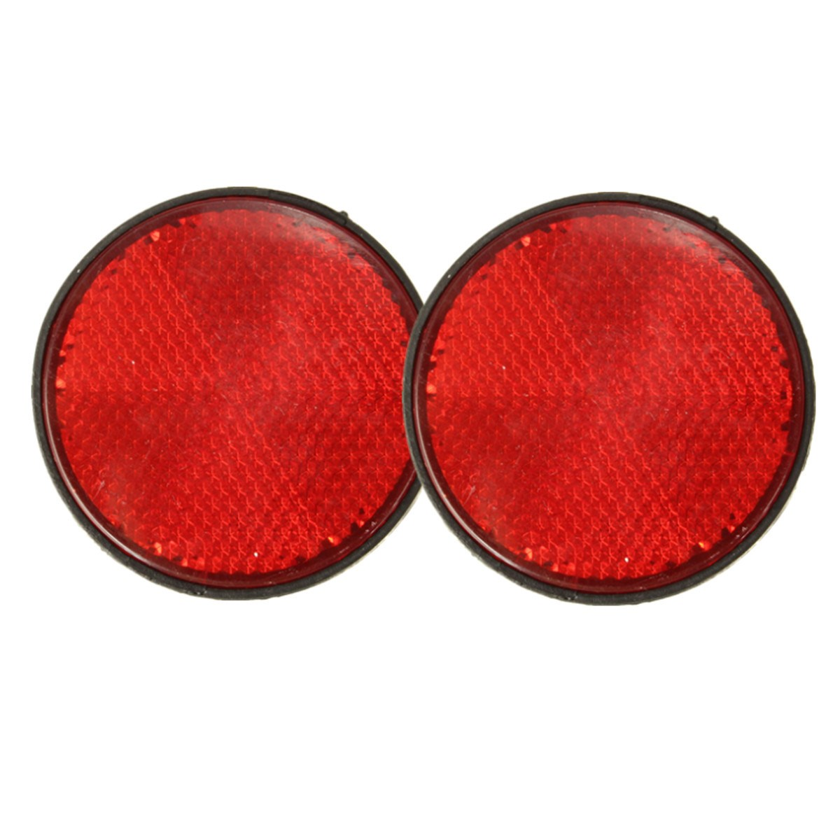 2 x 2 Universal Round Red Reflectors For Motorcycles ATV Bikes Dirt Bikes