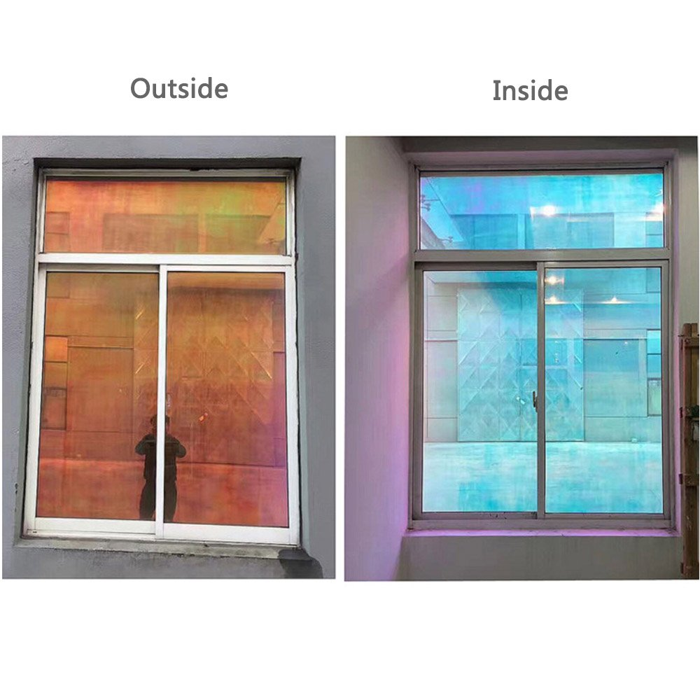 40 200 cm one way mirror Reflective window film Chameleon Rainbow Solar Film Privacy Glare Heat Control Anti UV DIY Window Tint in Decorative Films from Home Garden